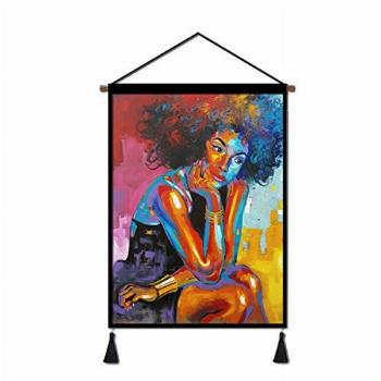 Canvas Poster Hanger Scroll, Hanging Poster Girl On A Windy