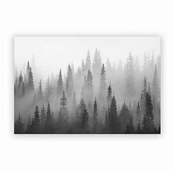 Foggy Forest Canvas Wall Art Black And White Painting Room