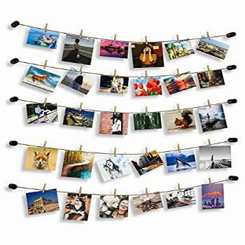 HOSOM String Wall Pictures Hangers with 30 Clips, Photo