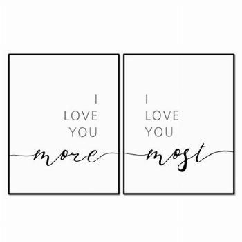I Love You More I Love You Most Wall Decor, Above Bed Quote,
