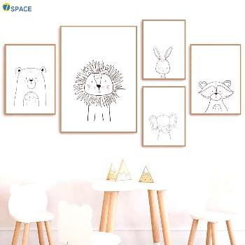Lion Rabbit Bear Raccoon Wall Art Canvas Painting Nordic Posters And Prints Nursery Wall Pictures F