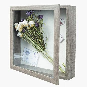 Muzilife 11x11 Deep Shadow Box Picture Frame with Linen