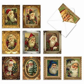 The Best Card Company - 10 Santa Christmas Note Cards with