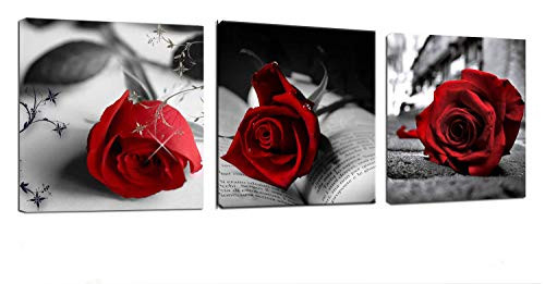 Canvas Wall Art Red Rose Flowers on Gray Books Pictures