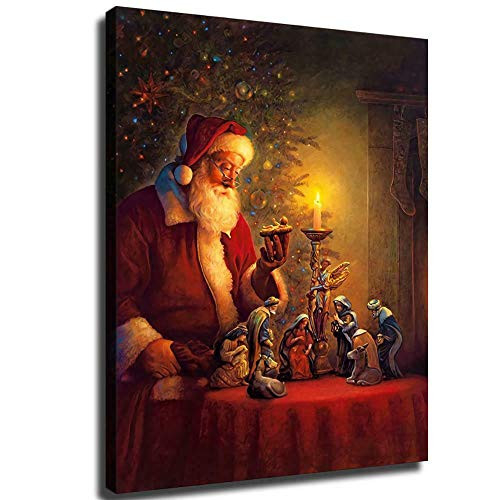 FINDEMO Christmas Santa Claus Paintings Print on Canvas HD