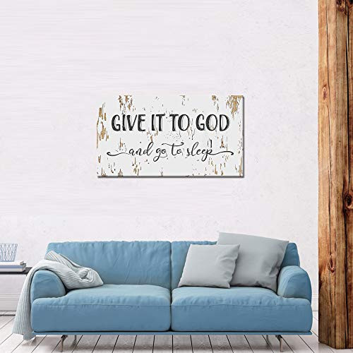 LevvArts Bedroom Quotes Wall Canvas Give It To God And Go To