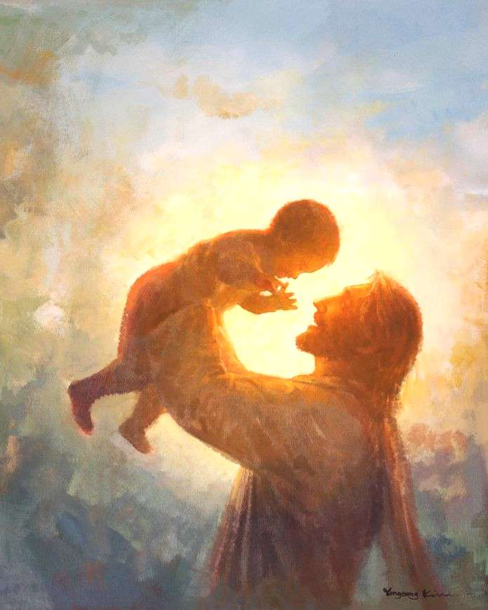 picture of jesus christ raising a child above his head in the background of the sun