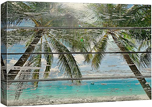 wall26 Canvas Prints Wall Art - Tropical Beach with Palm